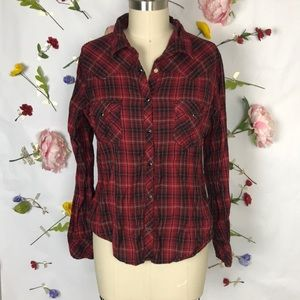 EUC Panhandle pearl snap plaid long sleeve shirt